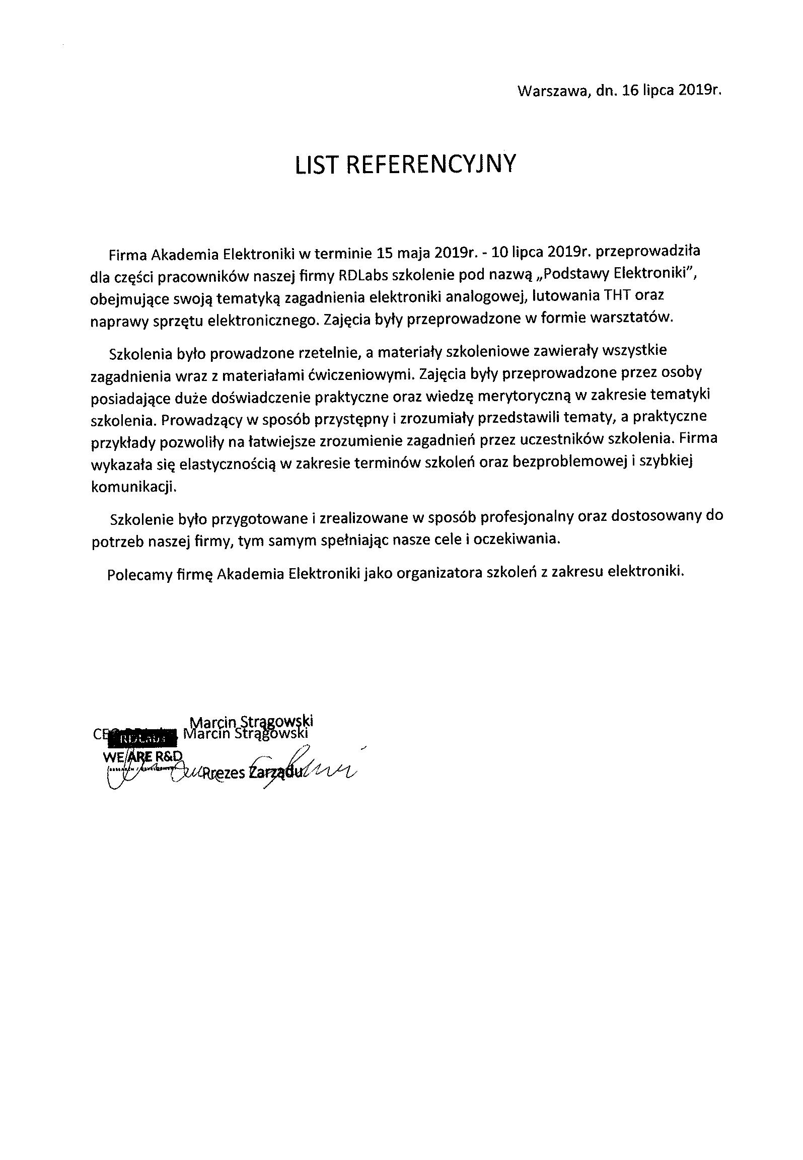 List Referencyjny RDLabs